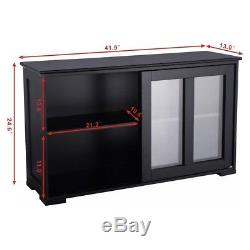 Home Kitchen Stackable Storage Cabinet with Glass Sliding Door Home Furniture US