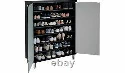 Home Milan Frosted Glass Door Shoe Cabinet Black
