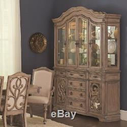Ilana Traditional China Cabinet / Hutch Buffet with Glass Door Dining Room