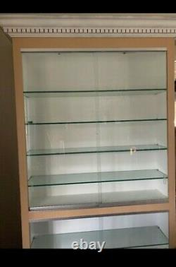 Illuminated Wall Display Cabinet with Sliding Glass Doors and LED Lights