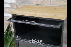 Industrial Storage Cupboard With Glass Door Black Metal Cabinet Chest Of Drawers