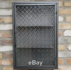 Industrial Wall Unit With Patterned Glass Door Metal Vintage Medicine Cabinet