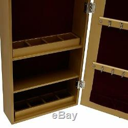 Jewelry Armoire Wall Mounted Cabinet Gold Mirrored Door Glam Storage Organizer