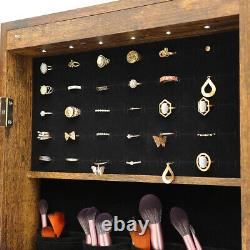 Jewelry Cabinet Mirror Storage with LED Light&Lock Hanging Wall Door Antique