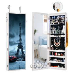Jewelry Cabinet Wall Door Mounted LED Jewelry Armoire Mirror Makeup Chest IK2002