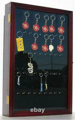 Keychain Display Case Wall Cabinet with glass door, solid wood, Key1B-MA