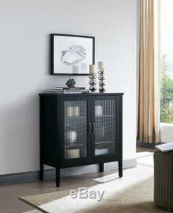 Kings Brand Furniture 2 Door Wood Console Table/Accent Storage Cabinet, Black