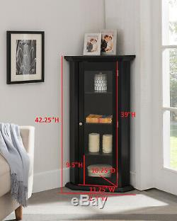 Kings Brand Furniture Corner Curio Storage Cabinet with Glass Door, Black