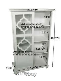 Kings Brand Furniture- Halswelle 2-Door White Curio Bookcase Cabinet