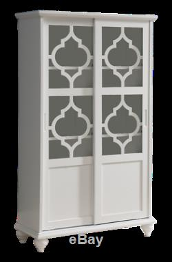Kings Brand Furniture White Finish Wood Curio Bookcase Cabinet with Glass Doors
