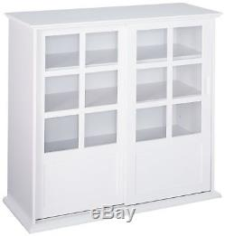 Kings Brand Furniture White Finish Wood Curio Cabinet with Glass Sliding Doors