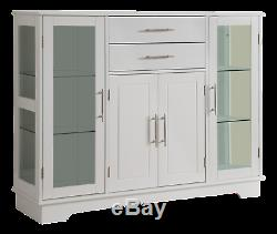 Kings Brand Kitchen Cabinet Storage Buffet With Glass Doors, White
