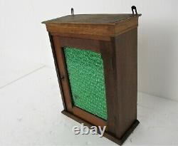 Kitchen Apothecary Pharmacy Bathroom Cabinet Green Glass Door Hand Carved Wood