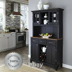 Kitchen Buffet Hutch Wine Rack Solid Wood Server Storage Cabinet Drawers Black