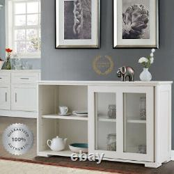 Kitchen Cabinet Storage Hutch Glass Doors Sideboard Cupboard White Wood Pantry