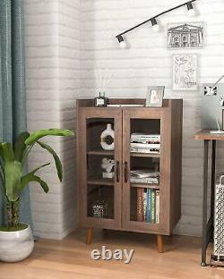 Kitchen Sideboard Buffet Cabinet with Glass Door and Adjustable Shelf, Cupboard