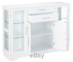 Kitchen Storage Cabinet Dining Room Buffet Glass Doors White Wood Cupboard New