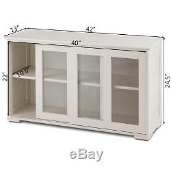 Kitchen Storage Cabinet Sideboard Simple Buffet Cupboard with Sliding Door Pantry