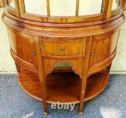 LARGE Vintage English Edwardian Style INLAID Curved Glass Door DEMILUNE CURIO