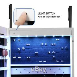 LED Jewelry Cabinet Armoire Lockable Wall Door Mounted Jewelry Armoire Organizer
