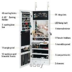 LED Light Mirror Jewelry Armoire Wall Mounted Hung Over Door Cabinet Organizer
