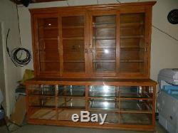 Large Antique wood store Display cabinet case glass doors glass shelves