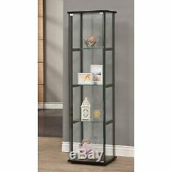 Large Curio Cabinet Black With Glass Doors Display 4 Shelves Home Storage