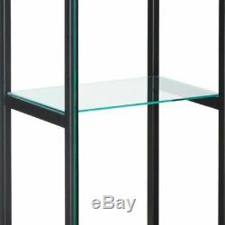 Large Curio Cabinet Black With Glass Doors Display Case 4 Shelves Home Storage