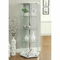 Large Curio Cabinet White With Glass Doors Display Case 4 Shelves Home Storage