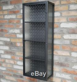 Large Industrial Wall Unit Patterned Glass Door Metal Medicine Cabinet Shelving