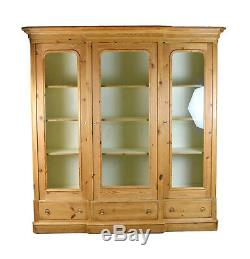 Large Vintage Breakfront Bookcase China Curio Cabinet Locking Glass Doors