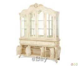Lavelle French Chic 4-Door China Cabinet with Storage in Blanc Finish