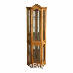 Lighted Corner Curio Cabinet Shelves Display Glass Doors Dining Elegant Mirrored