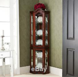 Lighted Corner Hutch Curio Cabinet with Glass Doors Wood Dining Room of Wonder