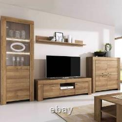 Living room furniture set Tv hanging unit glass cabinet cupboard LED riviera oak