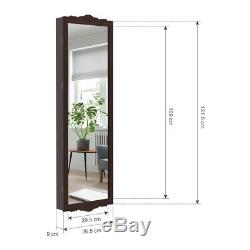 Lockable Door/Wall Mount Mirrored Jewelry Armoire Cabinet Storage Organizer New