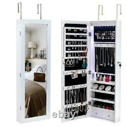 Lockable Door Wall Mounted Hanging Jewelry Cabinet Armoire Storage withLED Light