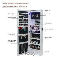 Lockable Jewelry Cabinet Door Wall Hang Mounted Mirrored Organizer Armoire Box