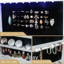 Lockable Jewelry Cabinet Door Wall Mounted Mirrored Organizer Armoire Box with LED