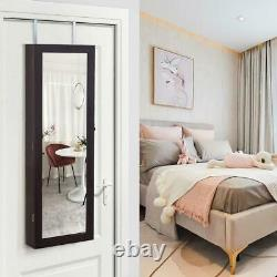 Lockable Mirror Jewelry Cabinet Armoire Organizer Wall Door Mounted withLED Lights
