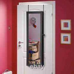 Lockable Wall Door Mounted Mirror Jewelry Cabinet Armoire Organizer withLED Lights