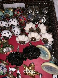 Lot 57+ Assorted Hand Painted Ceramic Glass Metal Door Knobs Cabinet Drawer Pull