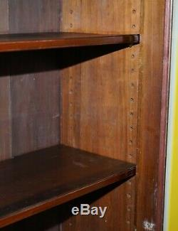 Lovely Very Large Victorian Golden Mahogany Library Bookcase Glass Door Cabinet