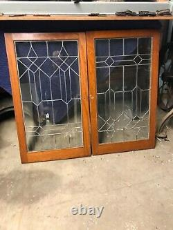 MK 96 Two Available Price Each Oak Leaded Glass Cabinet Door 24 x 41.75