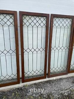 MK116 Set Of 4 Matching Antique Leaded Glass Cabinet Doors 24 X 5 Each
