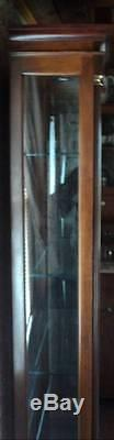Made in USA, Old Sligh Solid Wood Curio Cabinet withThick Beveled Glass Front Door