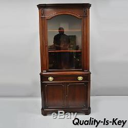 Mahogany Glass Door Corner China Cabinet Cupboard Drexel New Hampton Court