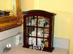 Mahogany Wood Cabinet Apothecary Curio Medicine Cosmetic VTG Glass Door Oval Top