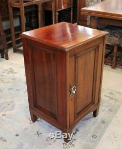 Mahogany Wood Small Antique Single Door Cabinet Nightstand w. 1 Drawer, 2 Shelves