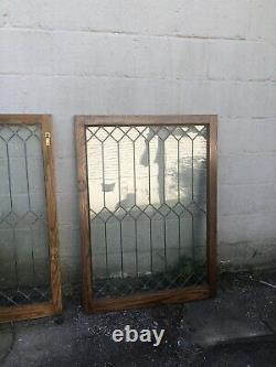 Matched Pair Salvaged Leaded Glass Oak Cabinet Doors/Windows 44.5 X 32